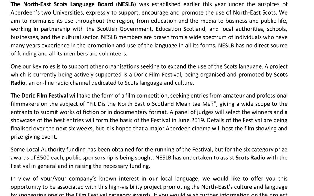 North East Scots Language Board (NESLB) Support Doric Film Festival
